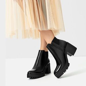 New Zara Black Platform Ankle Boots 10